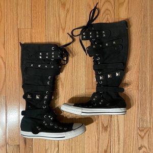 NEW! Converse All Star Calf-high Metal Stud Velcro